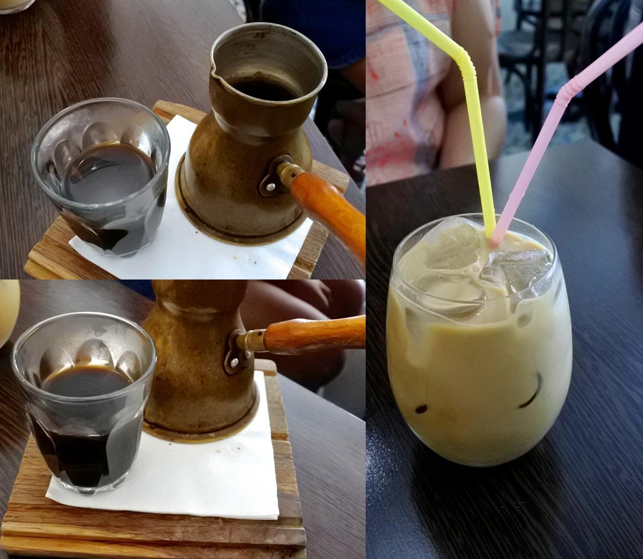 締めにカルダモン・コーヒーを♪ 右はアイスラテだったかな。