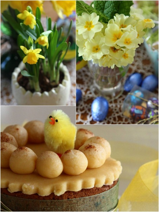 黄色のプリムローズに水仙、卵にひよこ、どれもイースターのモチーフ☆