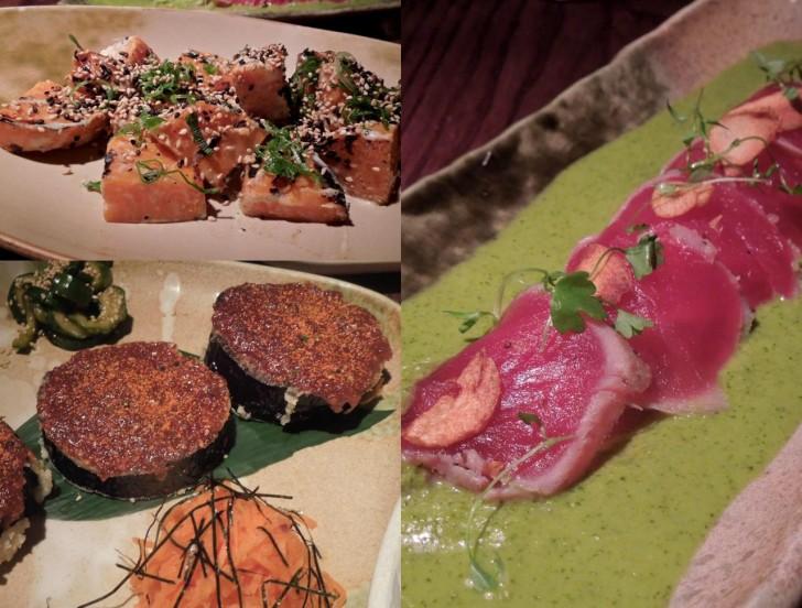 茄子の味噌焼きもフレッス&バンズ・メニューの中にある。左上はスイート・ポテトの田楽風