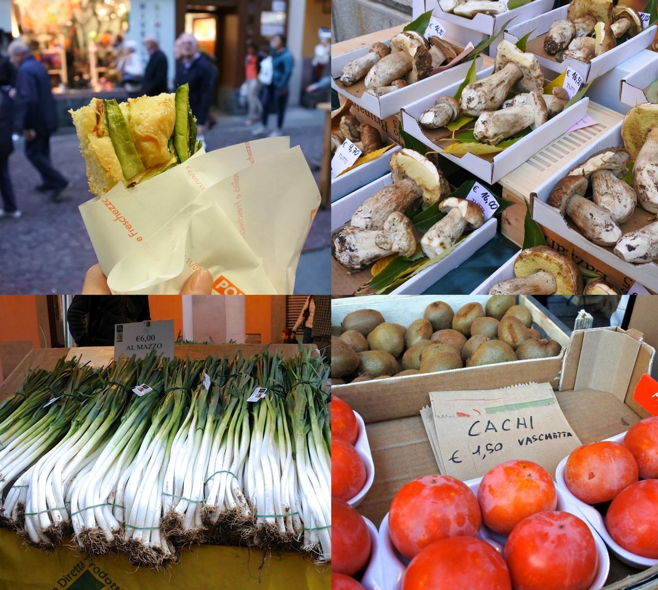 左上はフォカッチャ専門店で買ったズッキーニのフォカッチャ。旨い!  1メートル以上はあるかと思われるネギ、「Cachi」として売られている柿もシーズン