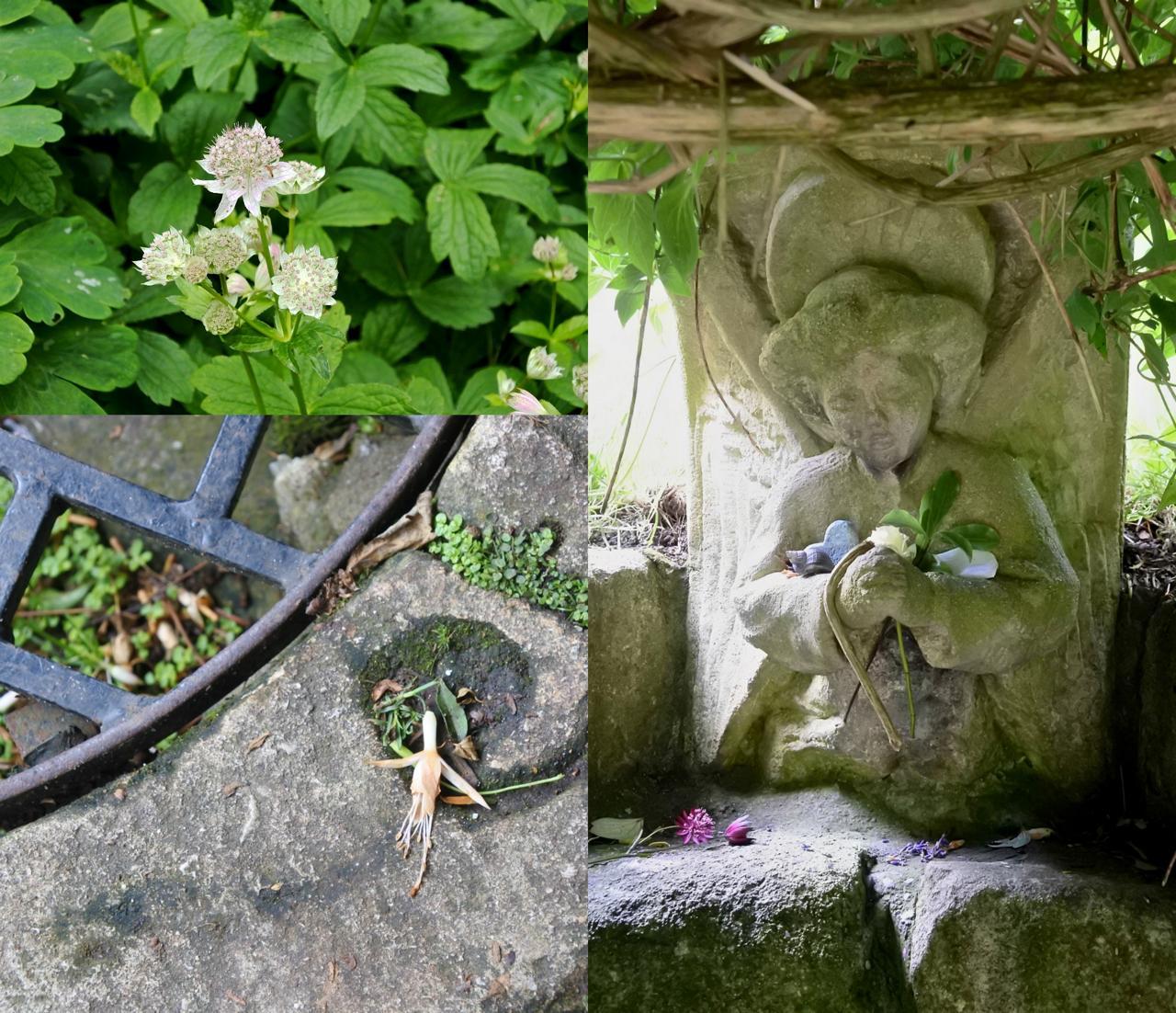 右は通称「天使のベンチ」と呼ばれる場所にある彫刻