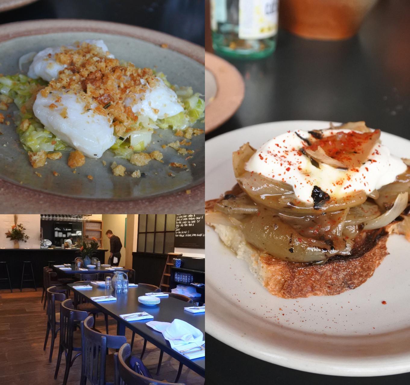 左上はコッド・チークとリークの一皿。これがいちばん好みでした! 繊細な味が引き立っています。右は玉ねぎのオープンサンド! これも美味しかったです ^^