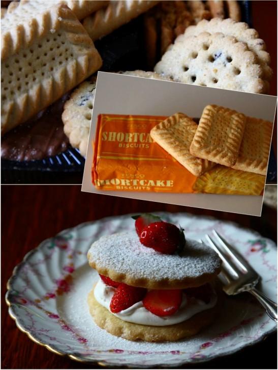 プレーンなビスケットタイプのショートケーキと、いちごサンドのストロベリーショートケーキ☆