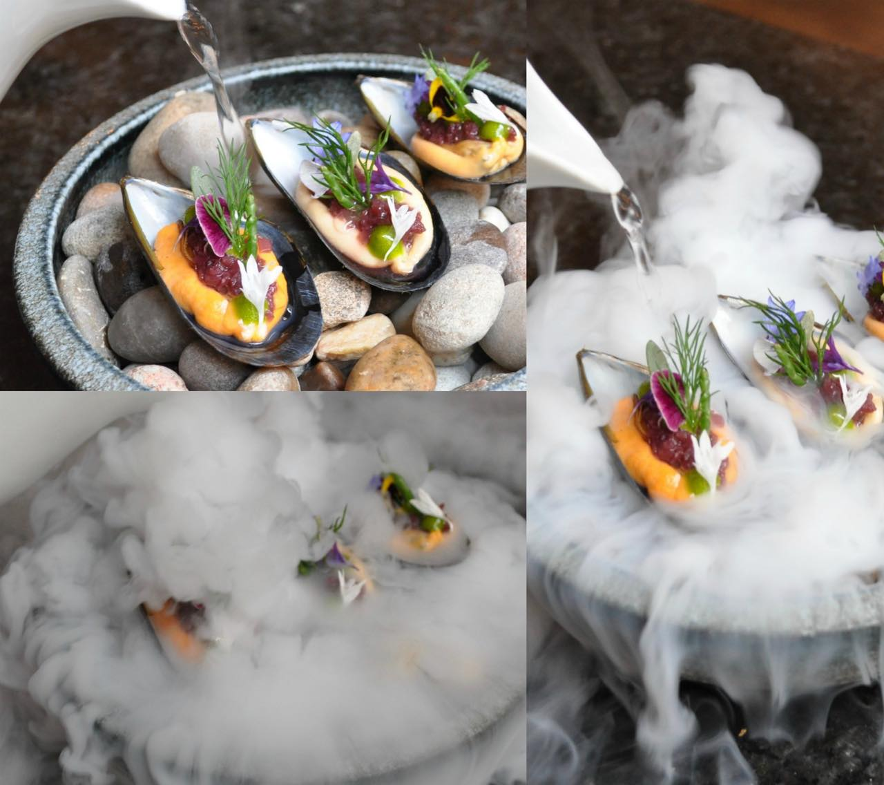 Smoked mussel, red onion, herbs