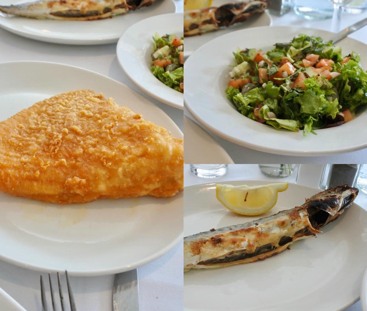 左はエイヒレのフライ!!! 柔らかくとても美味しかった〜。右下は今回、唯一ハズレだった鯖のグリル。身が細すぎて・・・どちらかというとスモークする方が合っている気がします。