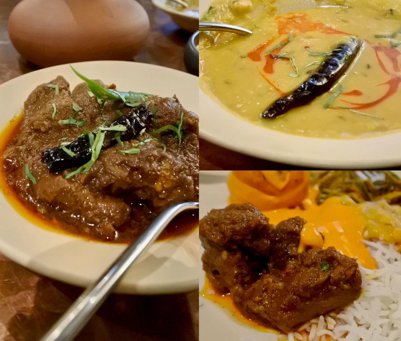 ヤギ肉のカレー!  ベンガルでは日曜の午後にいただく典型的な料理だそうです。右上はイエロー・ダール。これもマイルドなお味で美味しかった。